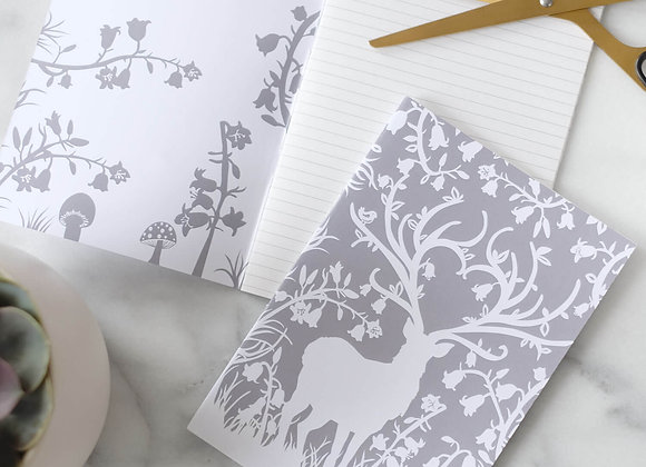 Stag in Bluebell Woods A5 Notebook