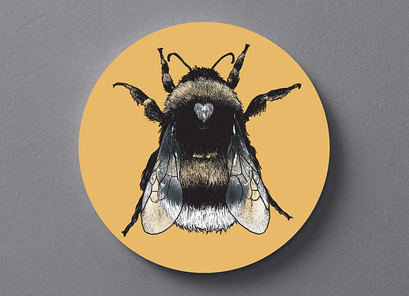 Ochre Yellow Bee Coaster - Single