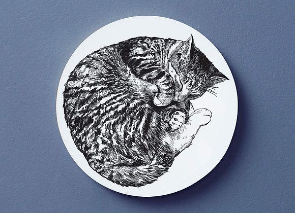 Sleeping Cat Coaster - Single