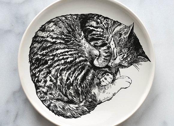 Sleeping Cat Ceramic Plate