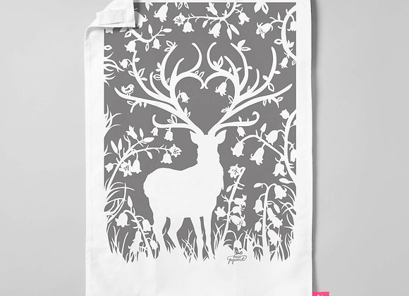 Stag in Bluebell Woods Teatowel