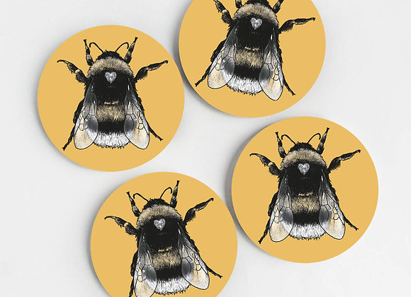 Ochre Yellow Bee Coasters (Pack of 4)