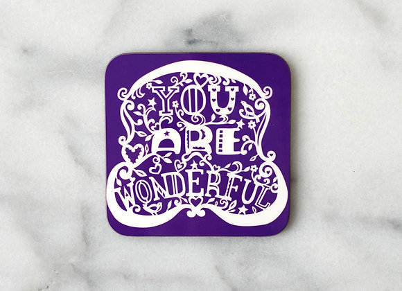 You Are Wonderful Purple Pack of 4 Coasters