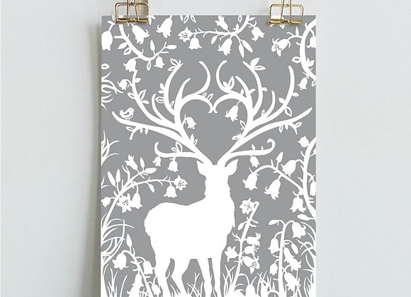 Grey Stag in Bluebell Woods Print (A4 / A3)