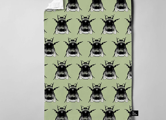 Green Bee Pattern Teatowel