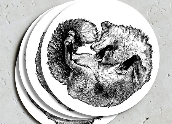White Fox Coasters (Pack of 4)