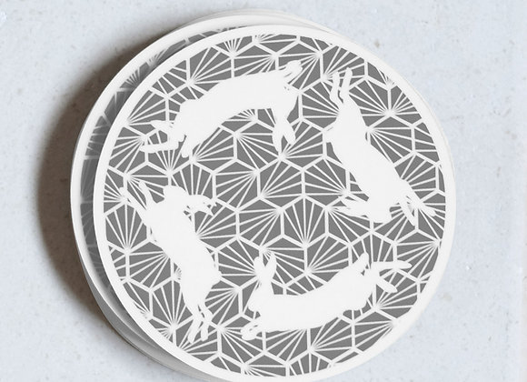 Hares Coasters, Grey - Pack of 4
