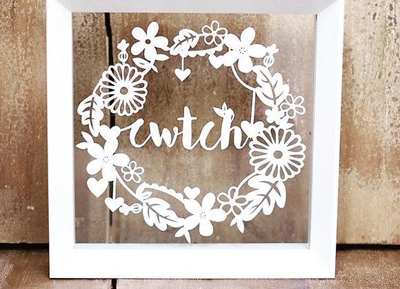 Cwtch Framed Hand Cut Papercut