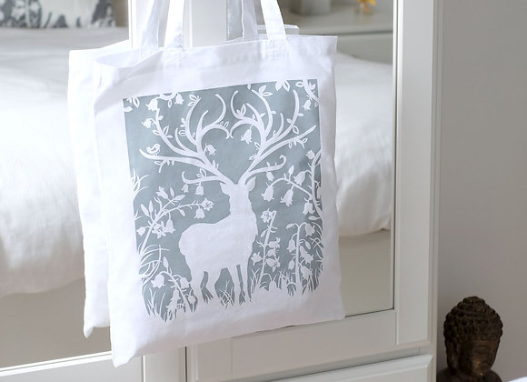 Stag in Bluebell Woods Tote Bag