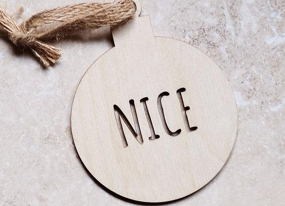 Wooden 'Nice' bauble