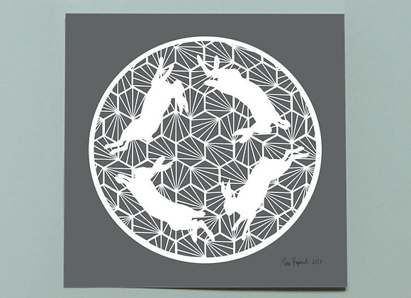 "Grey Geometric Hares Print 8 x 8"""