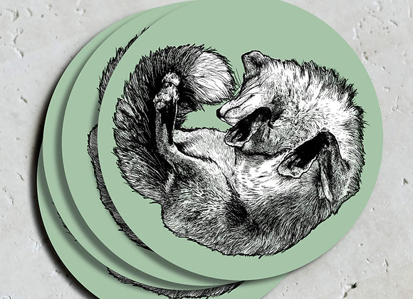 Light Green Fox Coasters (Pack of 4)