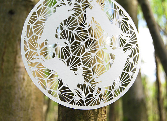 Geometric Hares Framed Hand Cut Papercut