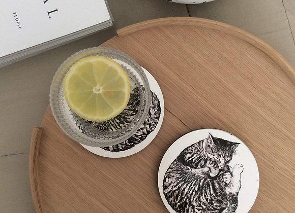Sleeping Cat Coasters (Pack of 4)