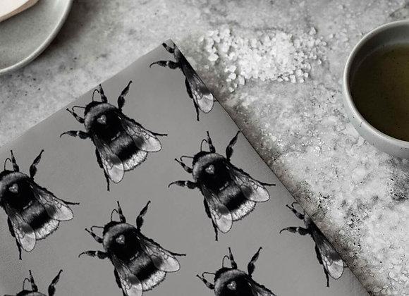 Grey Bee Pattern Teatowel