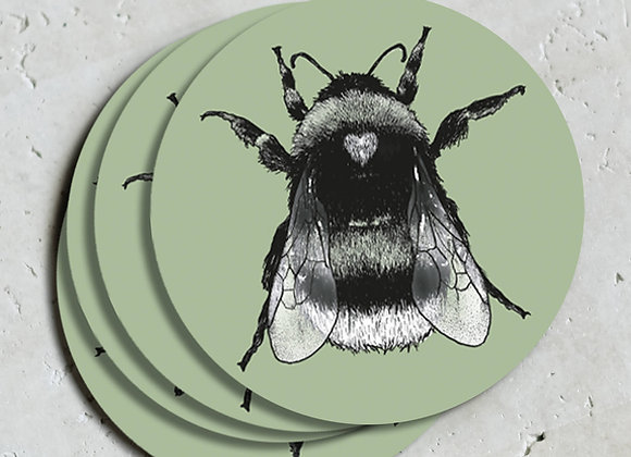 Green Bee Coasters (Pack of 4)