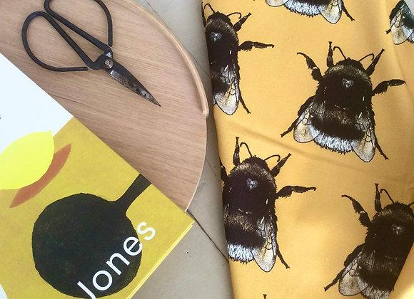 Ochre Yellow Bee Pattern Teatowel