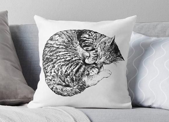 Illustrated Sleeping Cat Cushion