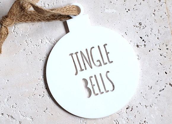 """""""Jingle Bells"""" White Acrylic Bauble"""