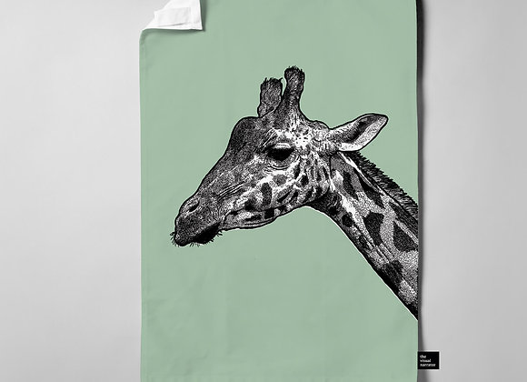 Soft Green Giraffe Teatowel