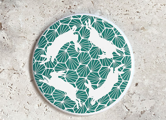 Geometric Hares Pocket Mirror - Green