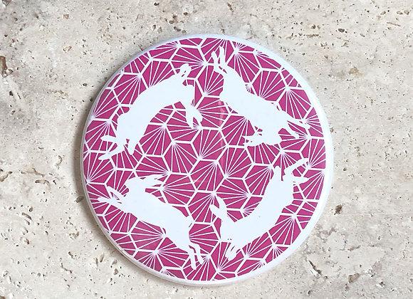 Geometric Hares Pocket Mirror - Pink