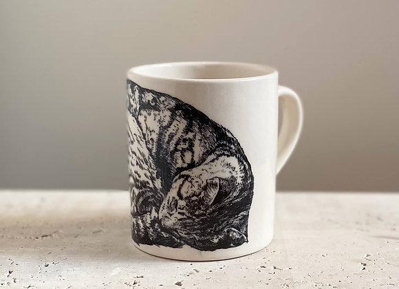 Illustrated Sleeping Cat Mug