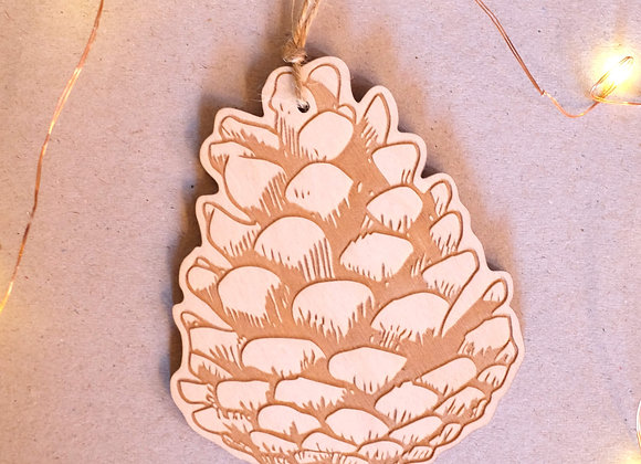 Plywood Pinecone Decoration- Engraved
