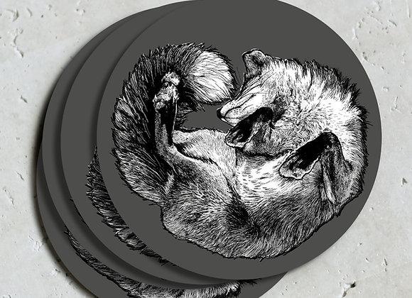 Dark Grey Fox Coasters (Pack of 4)