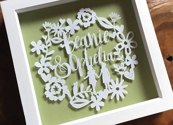 Floral Border Papercut - your word choice