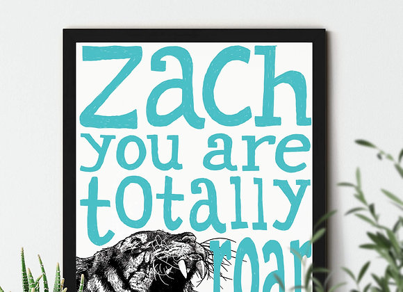 Personalised Tiger Framed Print A4