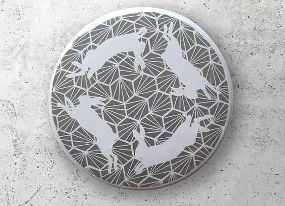 Geometric Hares Pocket Mirror - Grey