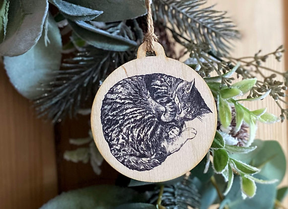 Sleeping Cat Plywood Bauble