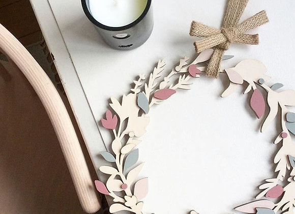 Hand Painted Floral Plywood Wreath