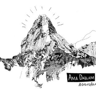 Ama Dablam mountain illustration