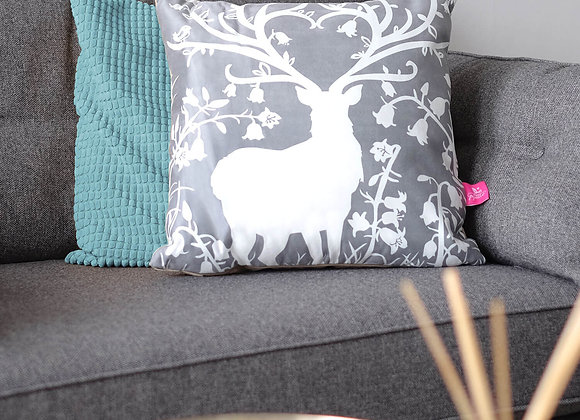 Stag in Bluebell Woods Cushion