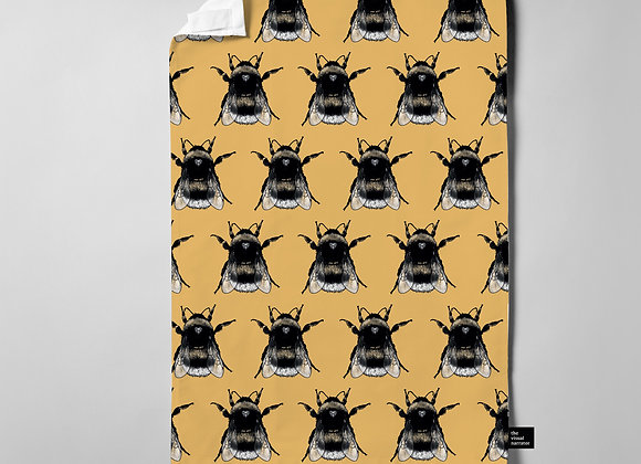 Ochre Yellow Bee Pattern Teatowel