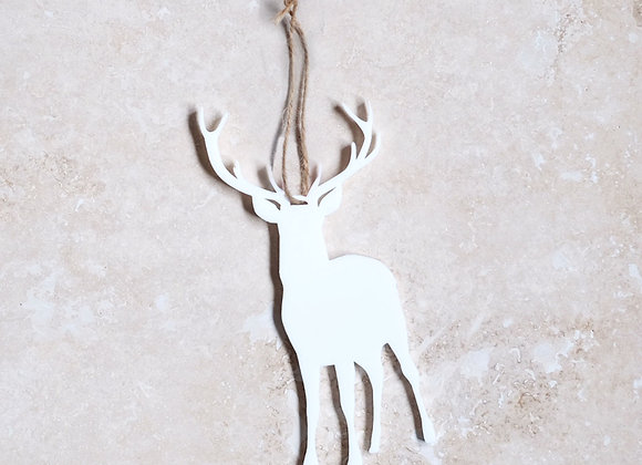 Stag White Acrylic Decoration