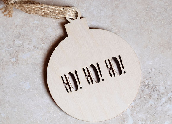 Wooden 'Ho Ho Ho' bauble