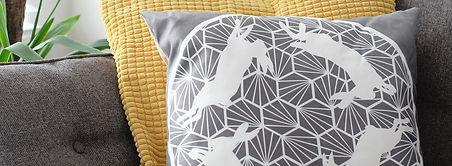 Miss Papercut hares cushion homeware