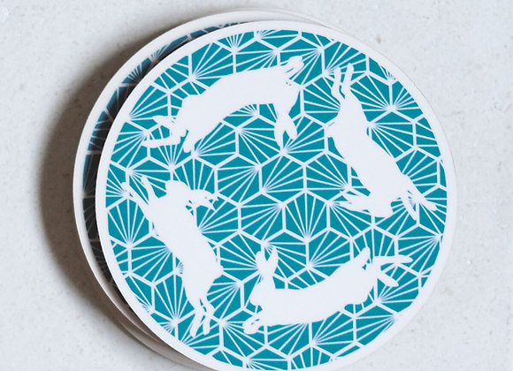 Hares Coasters, Teal - Pack of 4