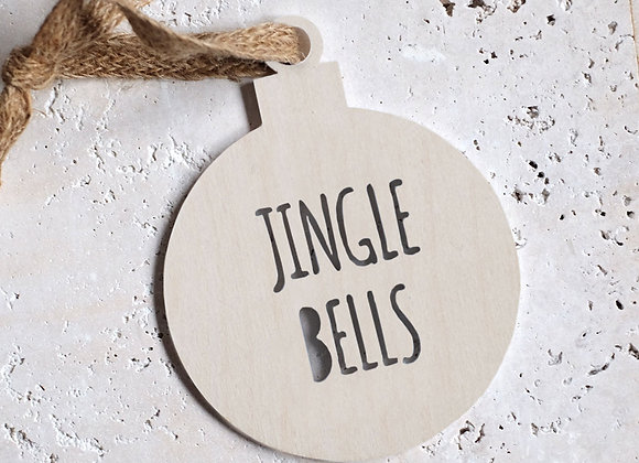 Wooden 'Jingle Bells' bauble