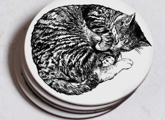Sleeping Cat Coasters - Pack of 4