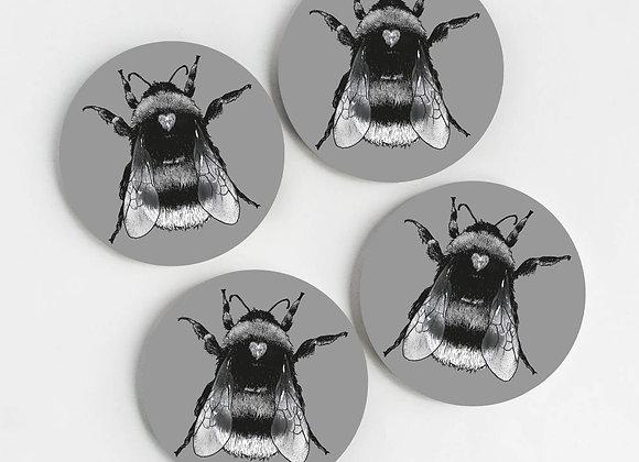 Grey Bee Coasters (Pack of 4)