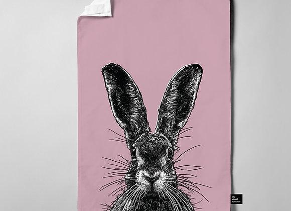 Dusky Pink Hare Teatowel