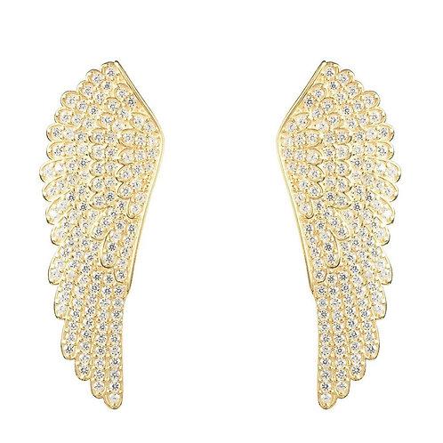 Angel Wing Large Stud Earrings Sterling Silver Gold