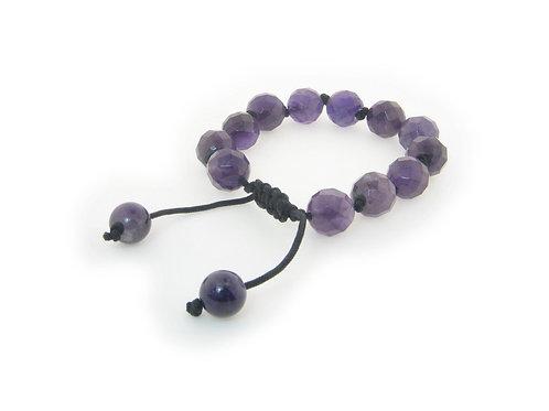 "Genuine Natural Stone Macrame Shamballa Bracelet for Women, Adjustable 7""- 9"""