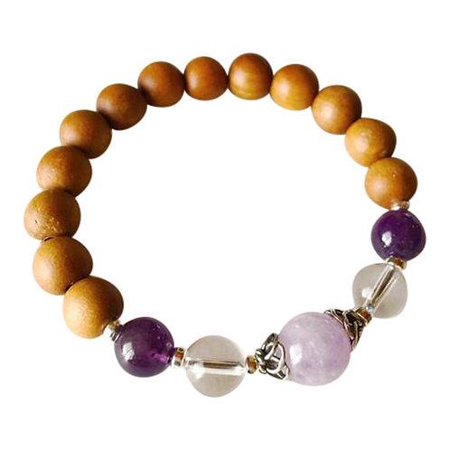 Sandalwood, Amethyst, Cape Amethyst & Crystal Quartz Sterling Silver Bracelet