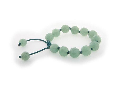 "Genuine Natural Green Aventurine Macrame Shamballa Bracelet, Adjustable 7""- 9"""