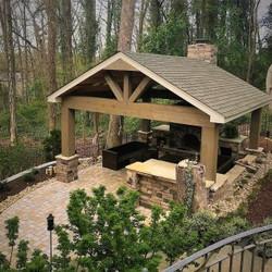 Cabana Fireplace Outdoor Kitchen Des